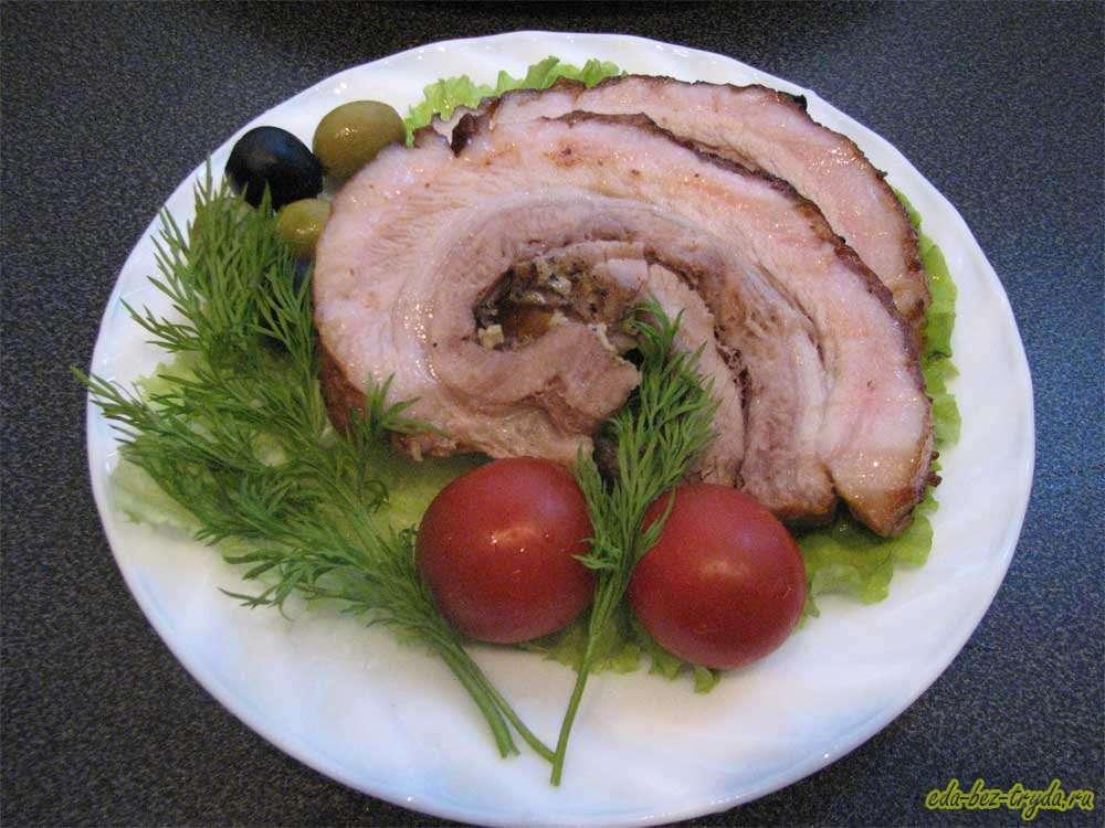 Мясной рулет из свиной прослойки рецепт с фото