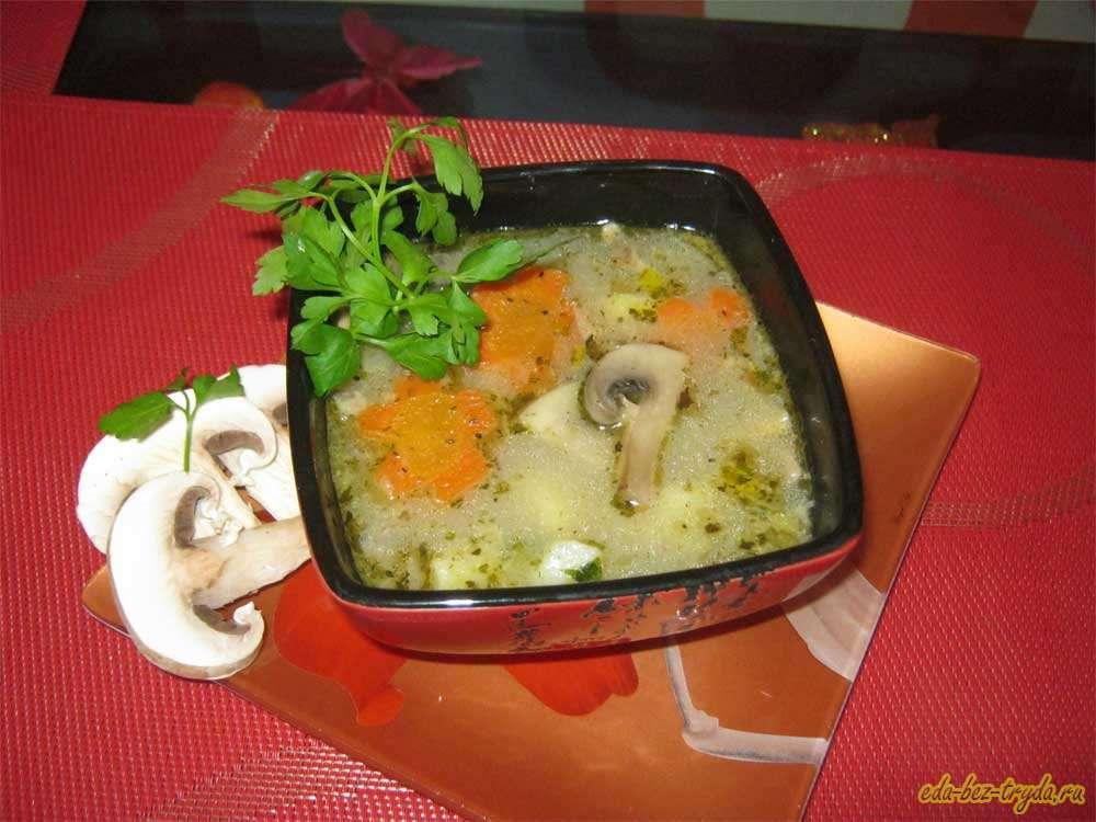 Грибной суп на курином бульоне рецепт с фото