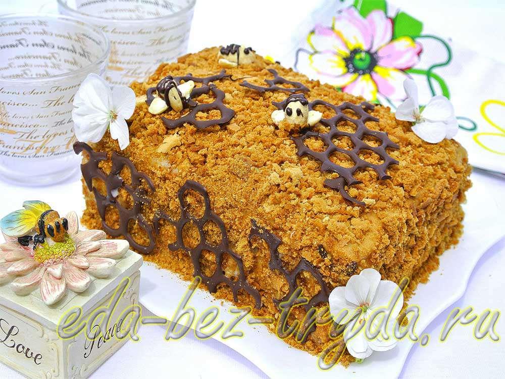 Медовый торт с заварным кремом рецепт с фото