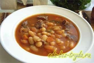 Густой суп из белой фасоли по-турецки
