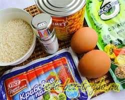 как приготовить Салат с крабовыми палочками и рисом