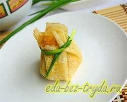 Блинные мешочки с салатом 10 шаг