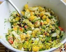Блинные мешочки с салатом 7 шаг