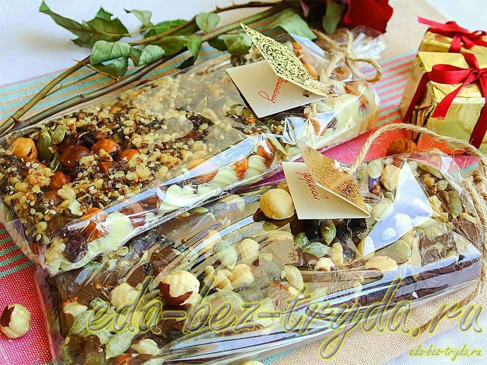 Домашние шоколадные плитки с сухофруктами, орехами и семечками рецепт с фото