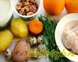 как приготовить Салат с курицей в апельсине
