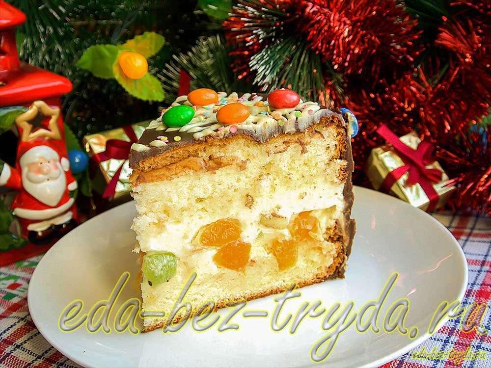 Новогодний бисквитный торт со сливочным суфле и фруктами рецепт с фото