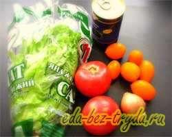 Салат овощной без майонеза со сметано-огуречной заправкой