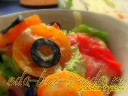 Салат овощной без майонеза со сметано-огуречной заправкой рецепт с фото