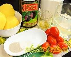 как приготовить Картофельная фокачча с помидорами и оливкам