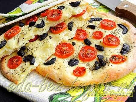 Картофельная фокачча с помидорами и оливкам рецепт с фото