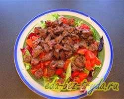 Салат из куриной печени с мандаринами 7 шаг