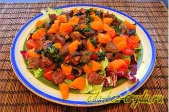 Салат из куриной печени с мандаринами