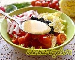 Салат с пекинской капустой и маслинами 6 шаг