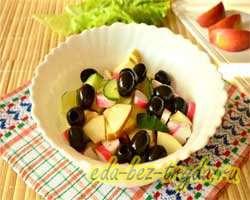 Салат с огурцами крабовыми палочками и яблоком 6 шаг