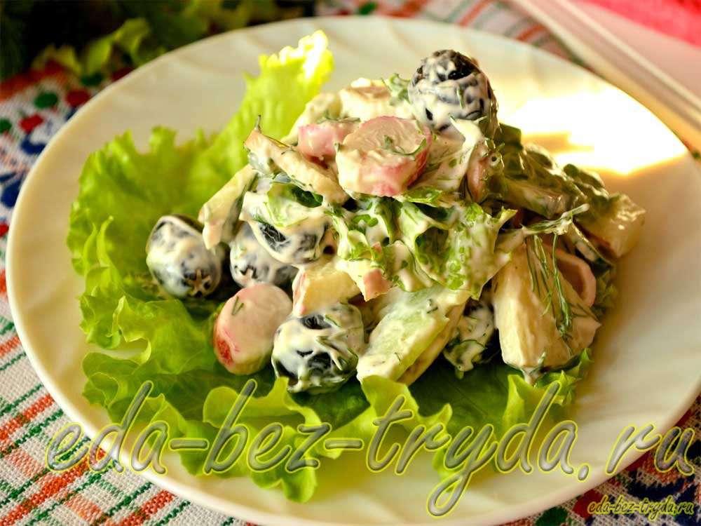 Салат с огурцами крабовыми палочками и яблоком рецепт с фото