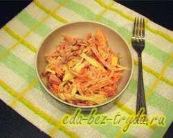 Салат с кальмарами помидорами и ветчиной 6 шаг