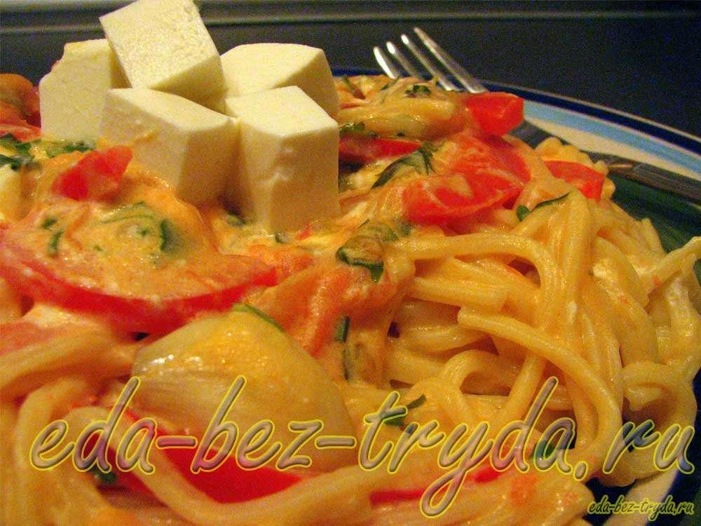 Спагетти с овощами рецепт с фото