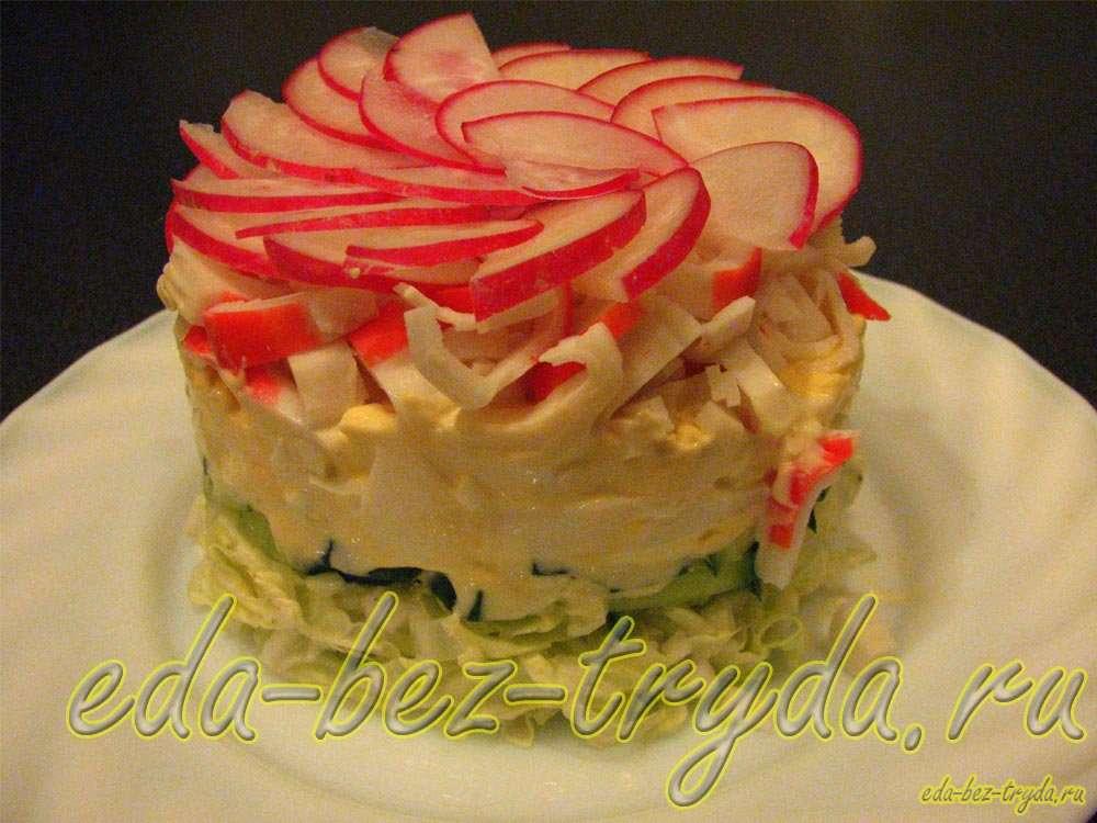 Салат с крабовыми палочками и овощами рецепт с фото