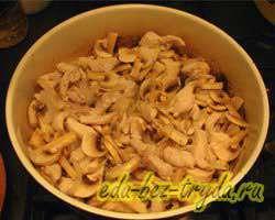 Макароны с курицей и грибами 6 шаг