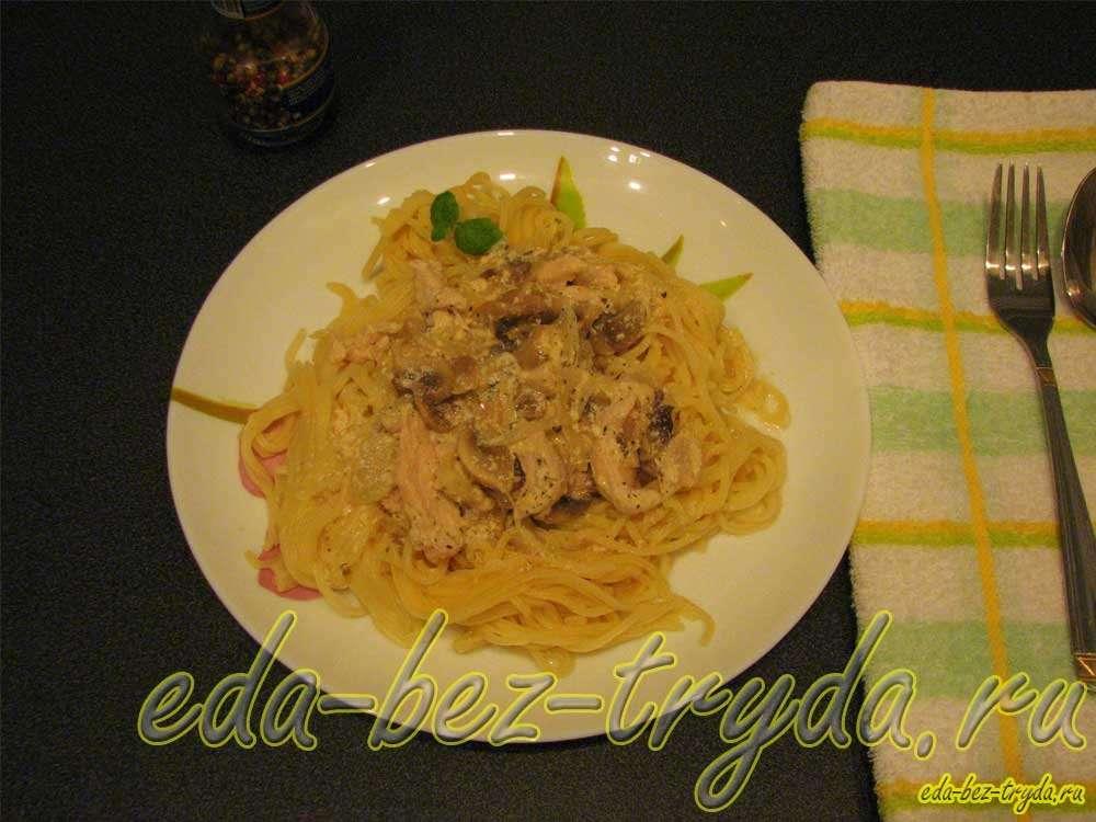 Макароны с курицей и грибами рецепт с фото