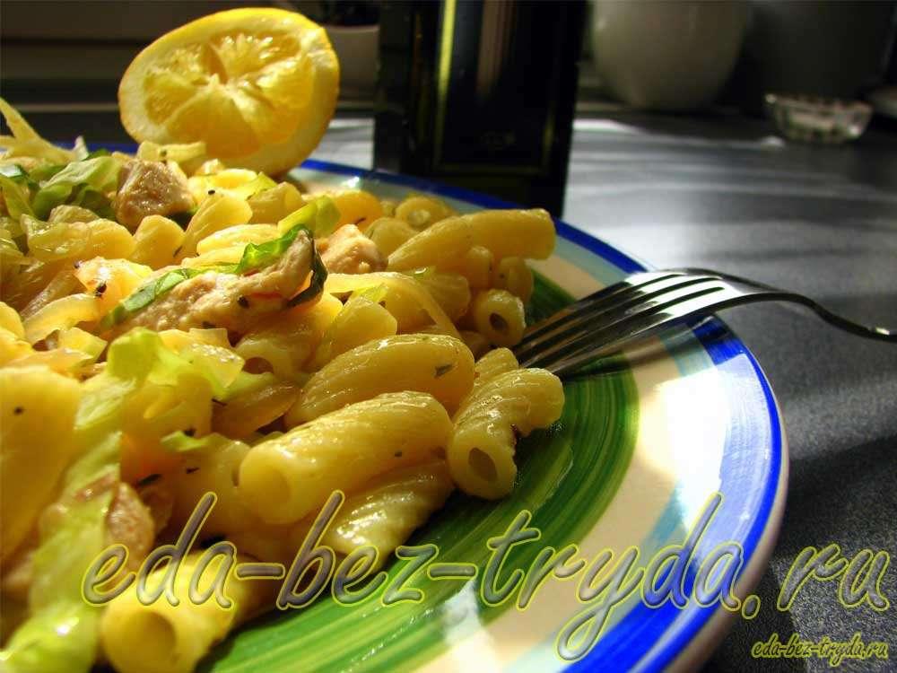 Макароны с капустой рецепт с фото