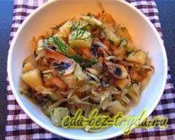 Тушеная картошка с капустой и грибами 10 шаг