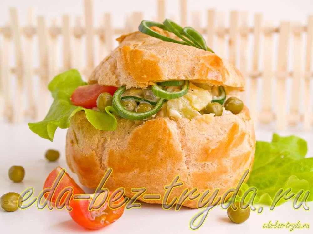 Профитроли с салатом рецепт с фото