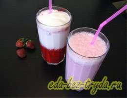 Молочный коктейль с мороженым и клубникой 2 шаг