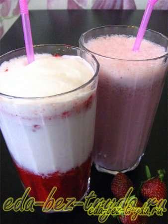 Молочный коктейль с мороженым и клубникой