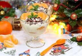 Десерт из мандаринов в белом шоколаде