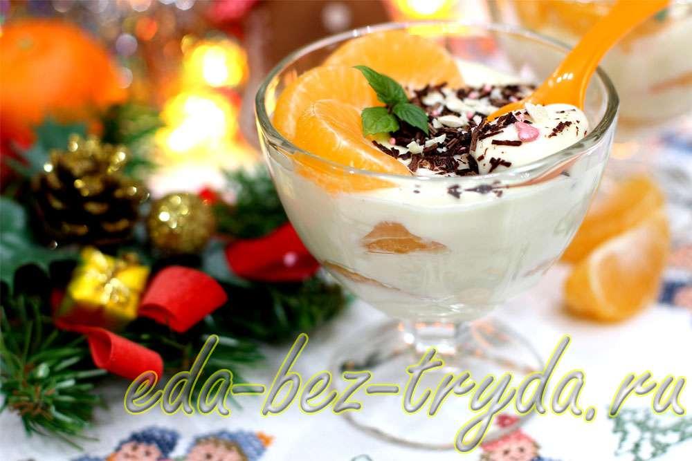 Десерт из мандаринов в белом шоколаде рецепт с фото