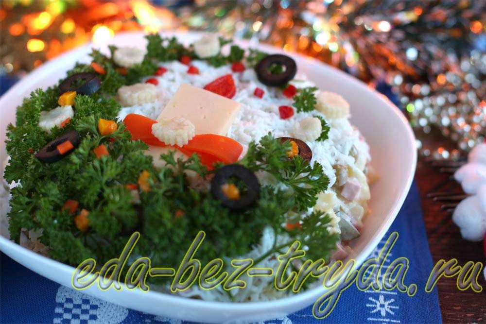 Как украсить салат оливье рецепт с фото