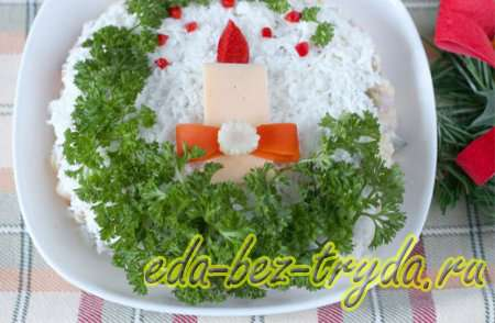 Как украсить салат оливье 5 шаг