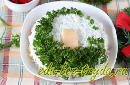 Как украсить салат оливье 3 шаг