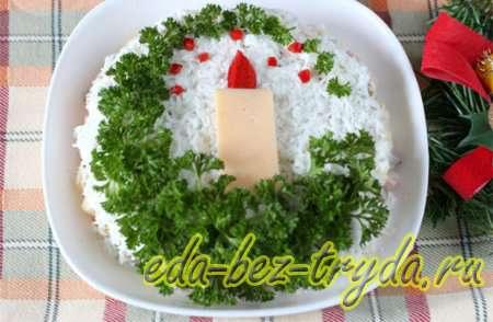 Как украсить салат оливье 4 шаг