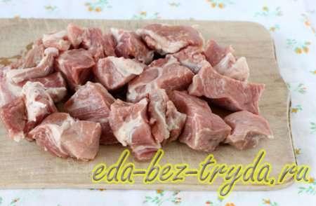 Шашлык на сковороде из свинины 1 шаг