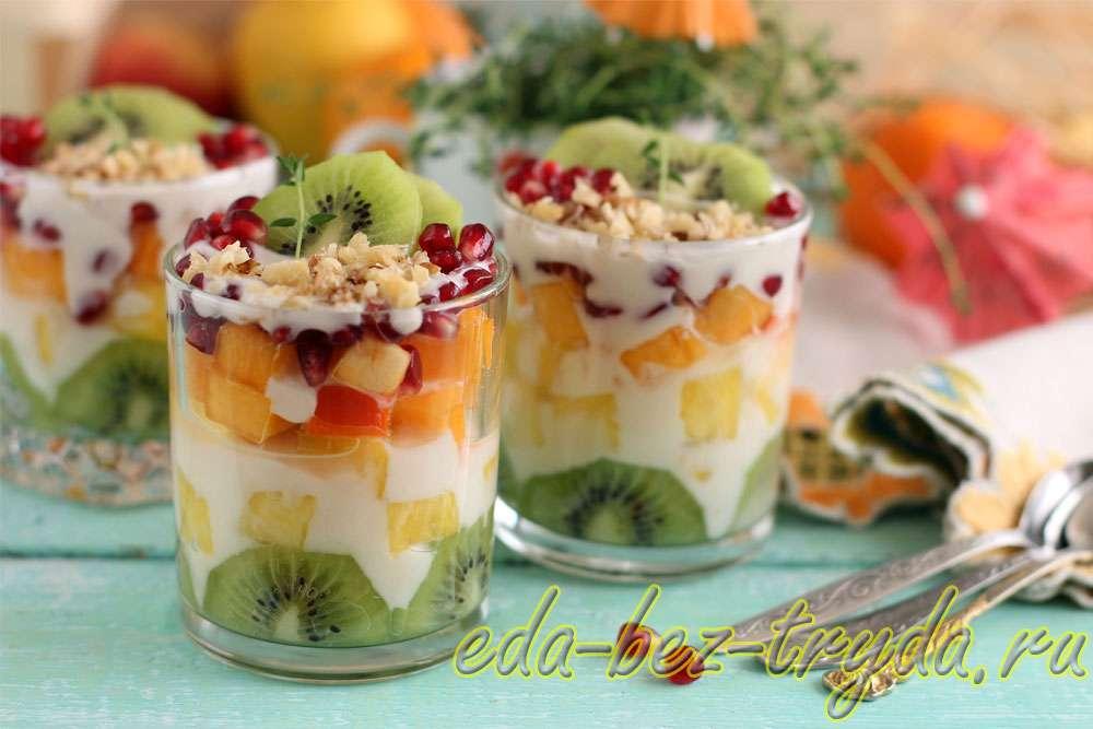 Рецепт фруктового салата с йогуртом рецепт с фото