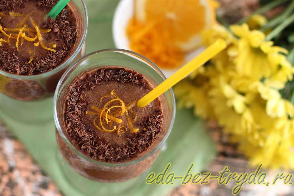 Шоколадно банановый смузи с кофе рецепт с фото