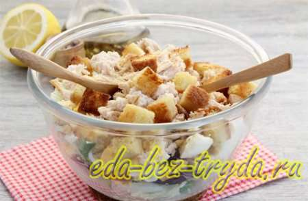 Салат с курицей и сухариками 6 шаг