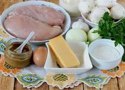 как приготовить Куриный кекс с шампиньонами