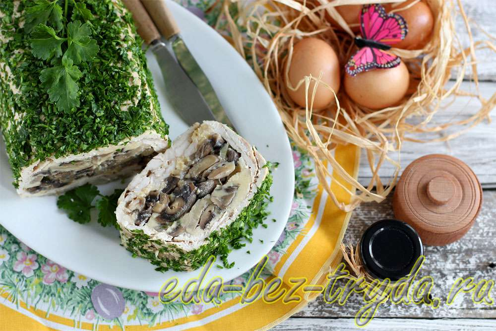 Куриный кекс с шампиньонами рецепт с фото
