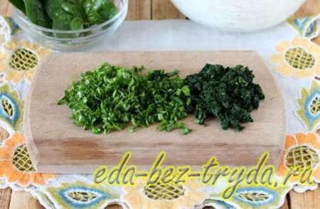 Нарезать шпинат и зелень 3 шаг