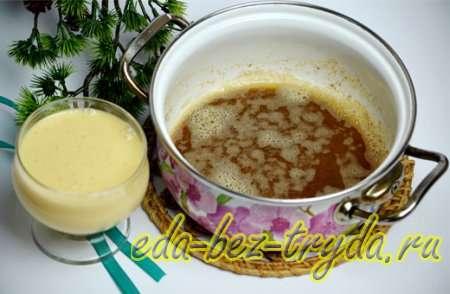 Разведем сухое молоко водой и смешаем его со сгущенным молоком 3 шаг