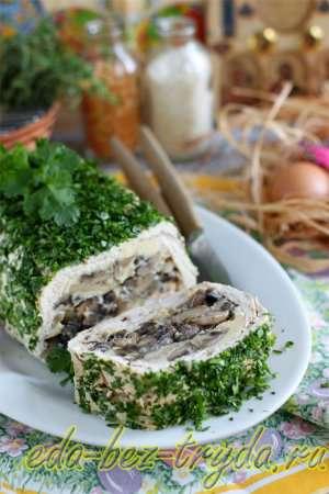 Украшаем зеленью и куриный кекс с шампиньонами готов 17 шаг