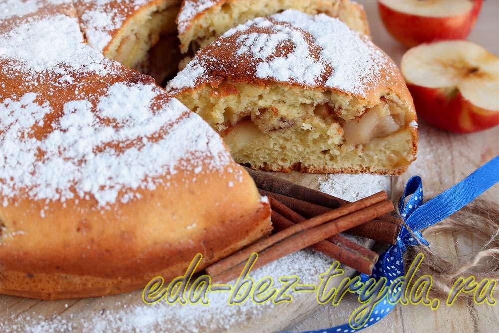 Манник с яблоками на кефире рецепт с фото
