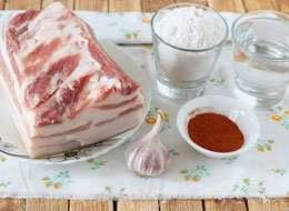 как приготовить Вареное соленое сало с острым перцем «Пикантное»