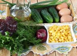 как приготовить Салат с кукурузой и огурцом